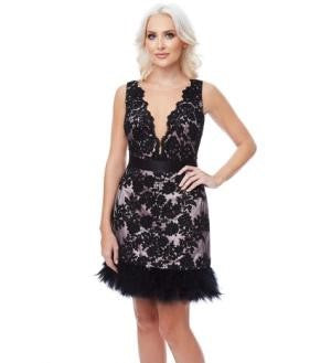Embroidered Mini Dress with Feather Hem – Black Nude