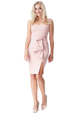 Bow Detail Midi Dress with Split - Nude