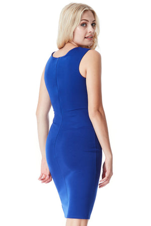 Bow Detail Midi Dress with Split - Royal Blue
