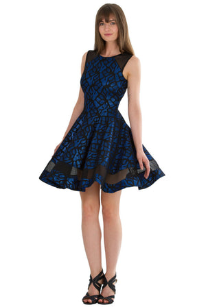 Panelled Cocktail Dress - Royal Blue