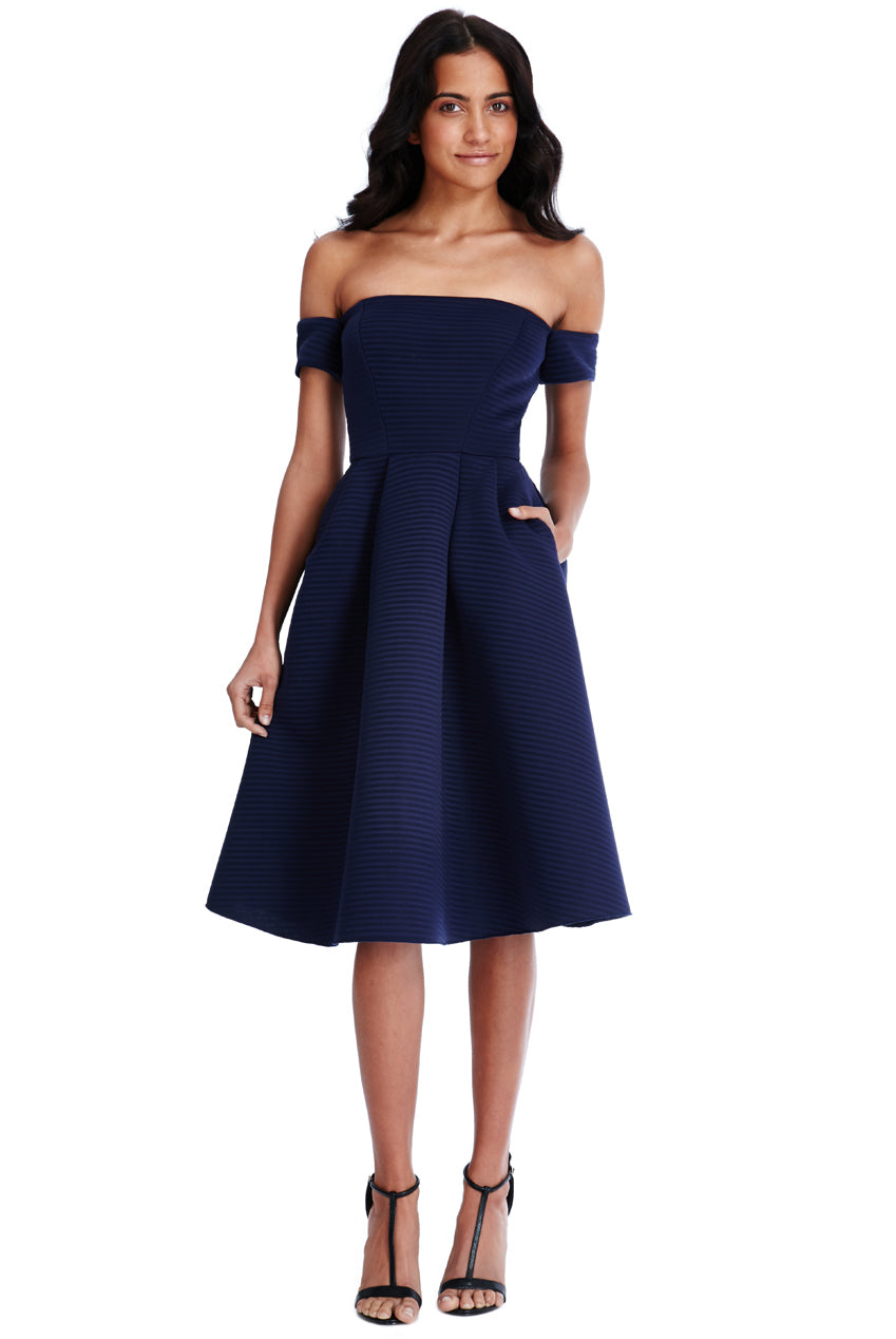 Bardot Full Skirt Midi Dress - Navy