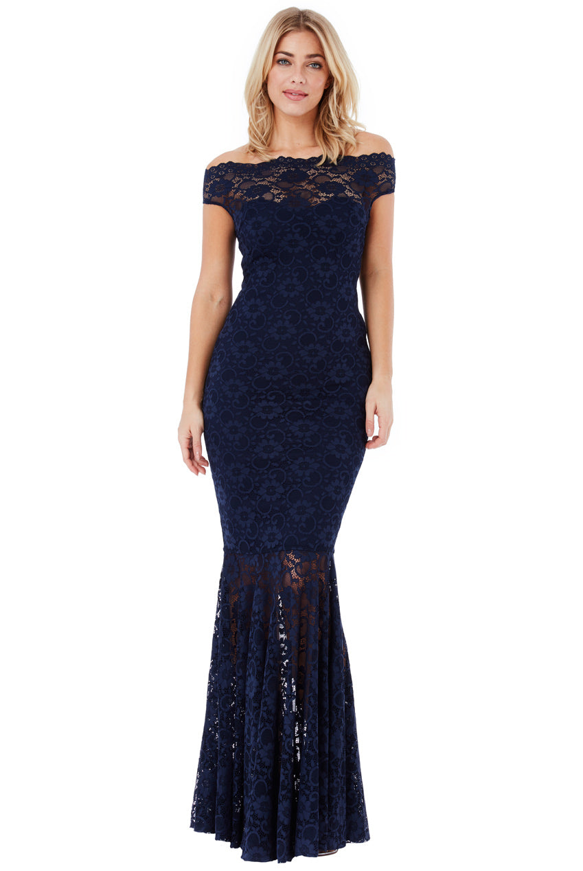 Bardot Lace Maxi Dress - Navy