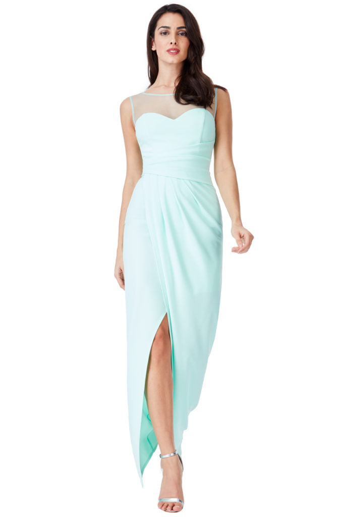 Side Pleated Maxi Dress with Split Detail - Mint