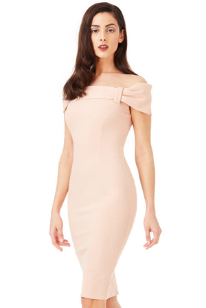 Bardot Midi Dress with Bow Detail - Nude