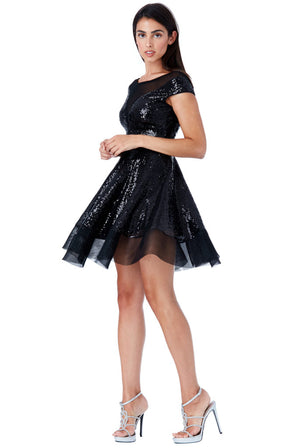 Open Back Sequin Skater Dress_Black