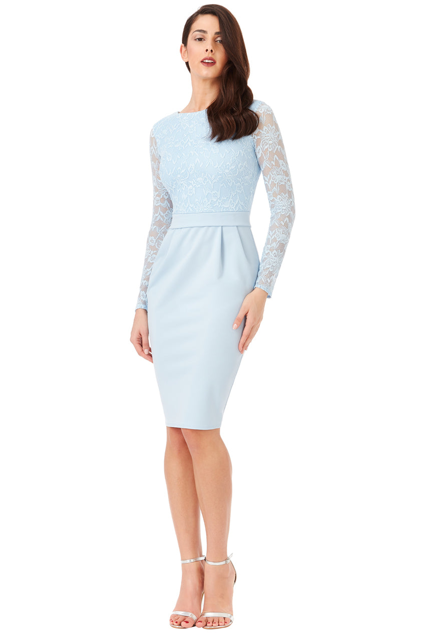Long Sleeved Lace Midi Dress - Powder Blue