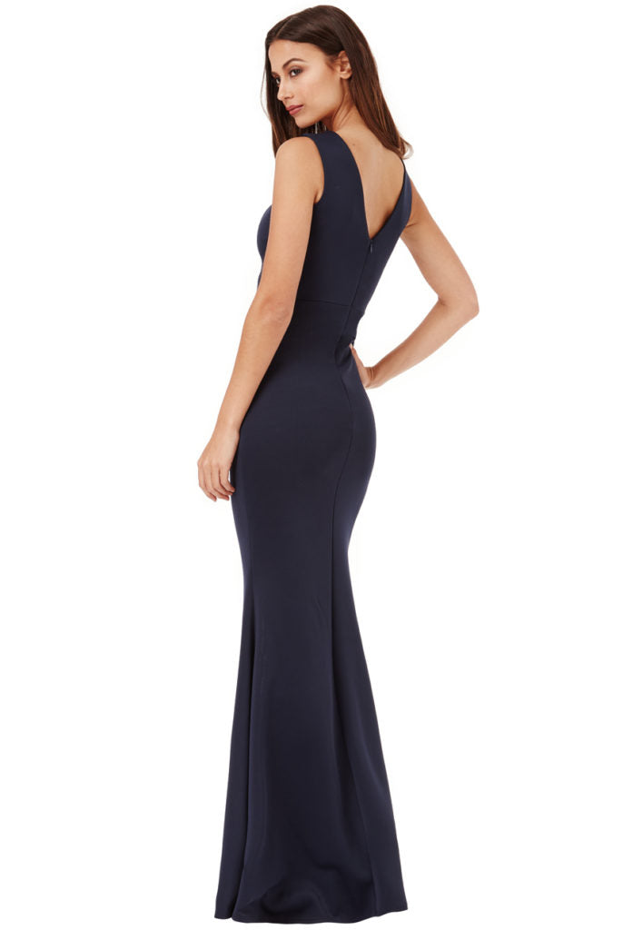 Embellished Maxi Dress with Split Detail - Navy