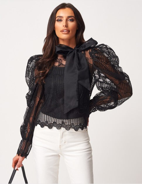 Black Lace Puff Sleeve Pussy Bow Blouse