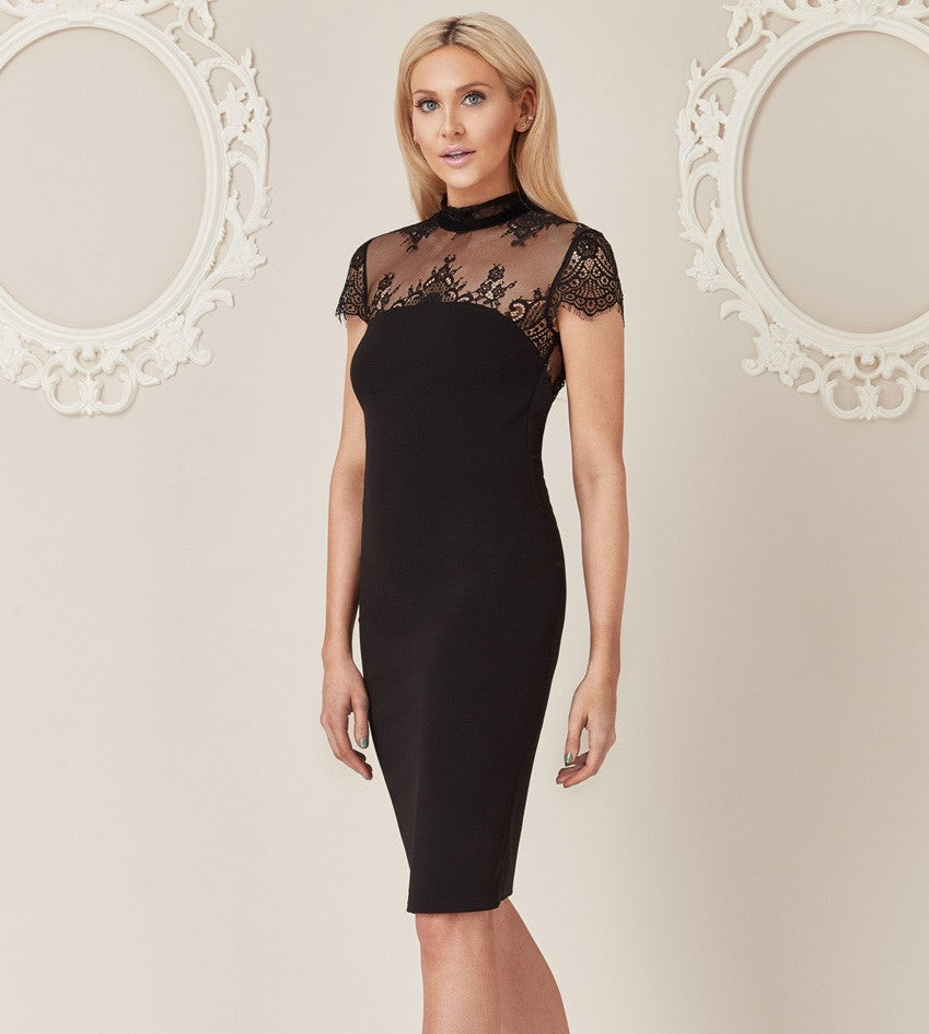 Open Back Midi Dress with Lace Detail - Black