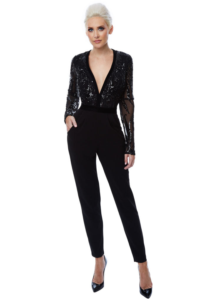Deep V Neck Sequin Embroidered Jumpsuit - Black