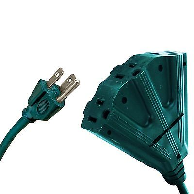 10 Ft Outdoor Extension Cord with Power Block - 16/3 Heavy Duty Green Cable
