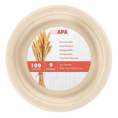 100 Biodegradable Disposable Dinner Plates - 9 Inch Compostable & Microwavabl...