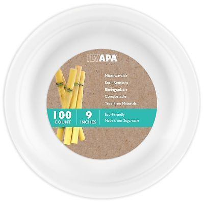 100 Biodegradable Disposable Dinner Plates - 9 Inch White Compostable & Micro...