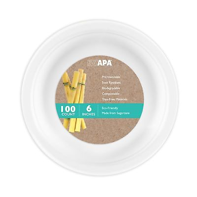 100 Biodegradable Disposable Plates - 6 Inch White Compostable & Microwavable...