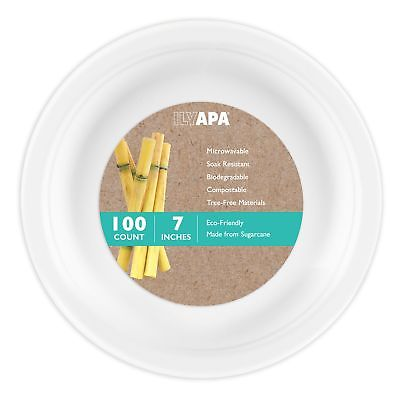 100 Biodegradable Disposable Plates - 7 Inch White Compostable & Microwavable...