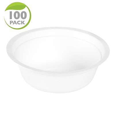 100 Disposable Biodegradable Soup Bowls - 12oz White Compostable & Microwavab...