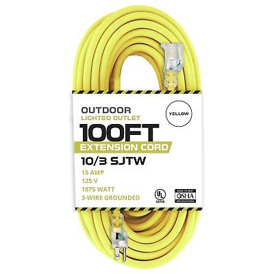 100 Foot Lighted Outdoor Extension Cord - 10/3 SJTW Yellow 10 Gauge Extension...