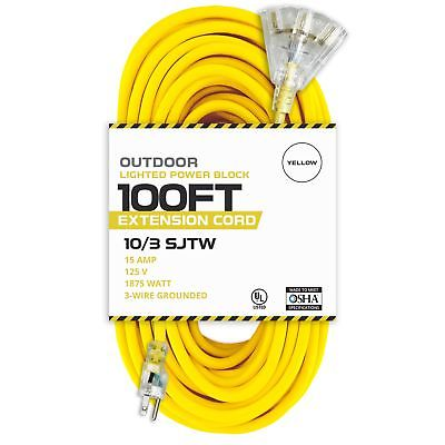 100 Foot Lighted Outdoor Extension Cord with 3 Electrical Power Outlets - 10/...