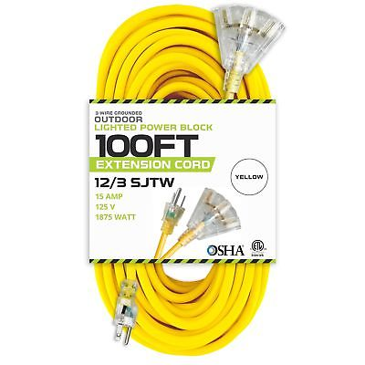 100 Foot Lighted Outdoor Extension Cord with 3 Electrical Power Outlets - 12/...