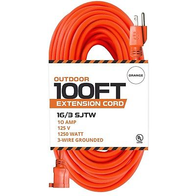 100 Ft Orange Extension Cord - 16/3 SJTW Heavy Duty Outdoor Extension Cable w...