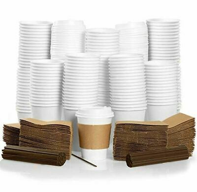 100 Pack - 12 oz To Go Coffee Cups with Sleeves, Lids & Stirrers - Disposable &