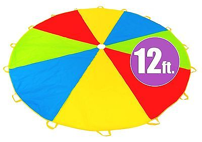 12 Foot Play Parachute with 16 Handles - New & Improved Design - Multicolored...