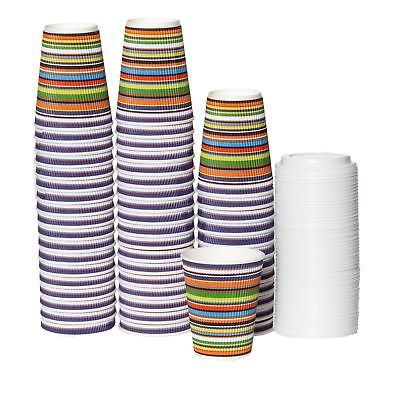 12 oz To Go Coffee Cups with Lids - Disposable, Insulated & Recyclable Stripe...