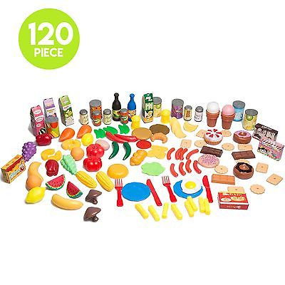 120 Piece Pretend Food Playset - Plastic Play Food Toys Set for Kids