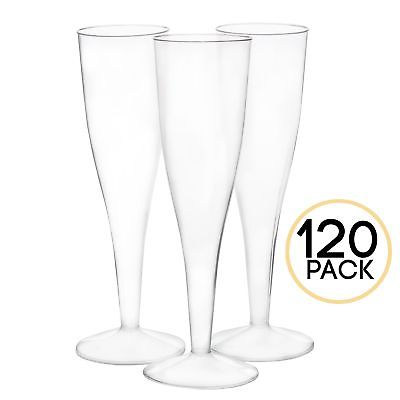 120 Premium Plastic Champagne Flutes - Bulk Champagne Glasses for Wedding or ...