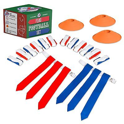 14 Player Flag Football Deluxe Set - 14 Belts, 42 Flags, 12 Cones & 1 Mesh Ca...