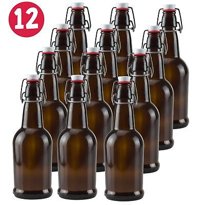 16 oz Amber Glass Beer Bottles for Home Brewing - 12 Pack with Flip Caps