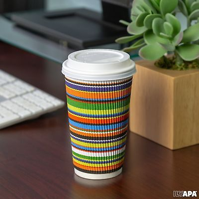 16 oz To Go Coffee Cups with Lids - Disposable, Insulated & Recyclable Stripe...