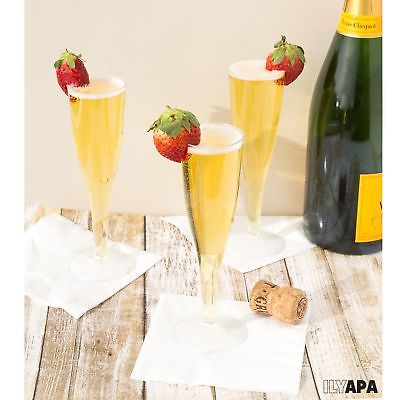 24 Premium Plastic Champagne Flutes - Bulk Champagne Glasses for Wedding or P...