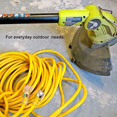 25 Foot Lighted Outdoor Extension Cord - 14/3 SJTW Heavy Duty Yellow Extensio...
