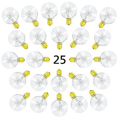 25 Pack of G40 Globe Light Bulbs for String Lights - Fits E12 and C7 Sockets ...