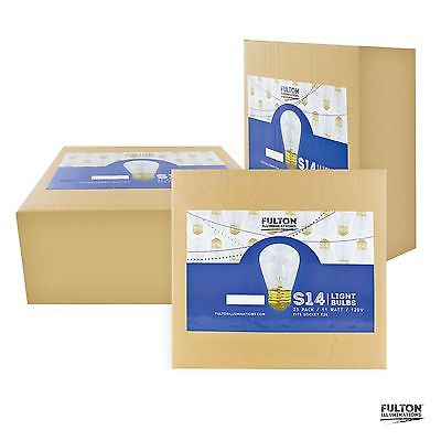 25 Pack of S14 Light Bulbs for String Lights - Fits E27 and E26 Base - 11 Wat...