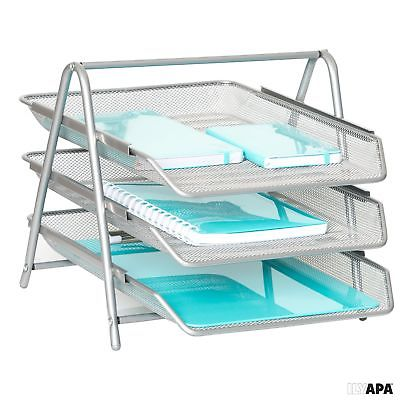 3-Tier Letter Tray Organizer – Wire Mesh Paper Tray for Home or Office, Silver