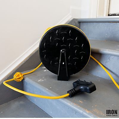 30Ft Retractable Extension Cord Reel with 3 Electrical Power Outlets - 16/3 H...