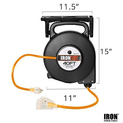 45 Ft Retractable Extension Cord Reel - 2 In 1 Mountable & Portable Power Cor...
