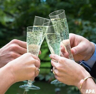 48 Plastic Champagne Flutes - Bulk 4.5 Oz Disposable Champagne Glasses for We...