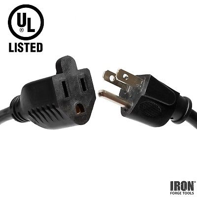 5 Pack of 1 Foot Black Extension Cords - 16/3 SJT Electrical Extension Cord Set
