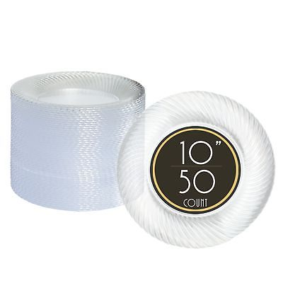 50 Premium Clear Plastic Plates for Dinner Party or Wedding - 10 Inch Fancy D...