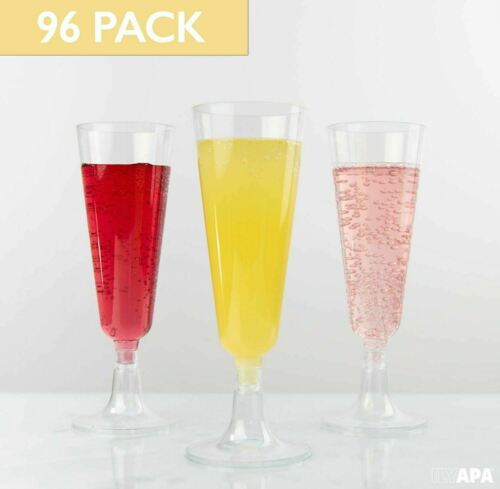 Bulk Disposable Champagne Flutes for Wedding or Party 96 Plastic 5oz Champagne Glasses