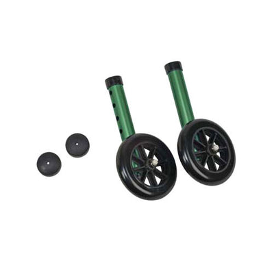 "5"" Non-Swivel Wheels/Caps; Green; 1 Pair each Wheels and Caps"