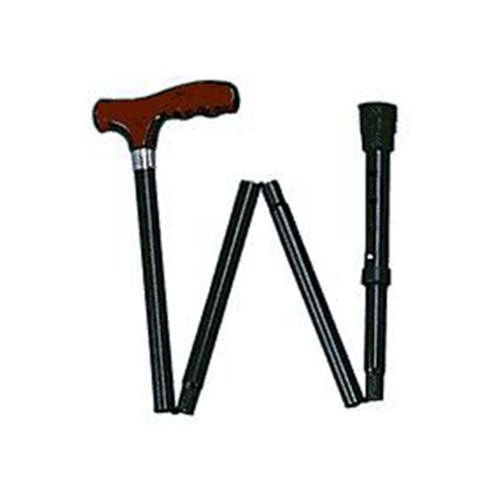 Adjustable Folding Cane, Black with York Handle
