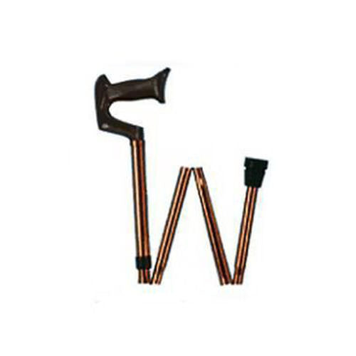 Adjustable Folding Cane, Black with Walnut Finish