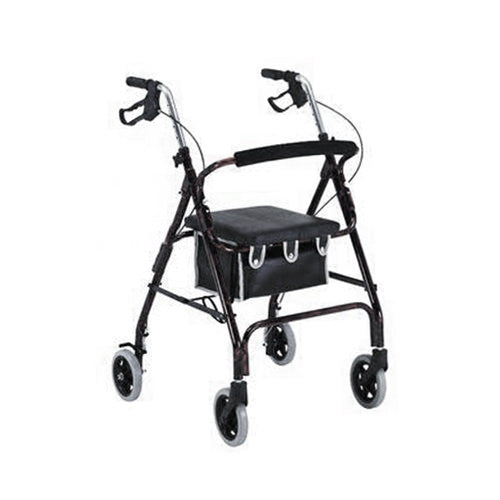 Flame Finish Aluminum Rollator with Loop Brakes (Black)