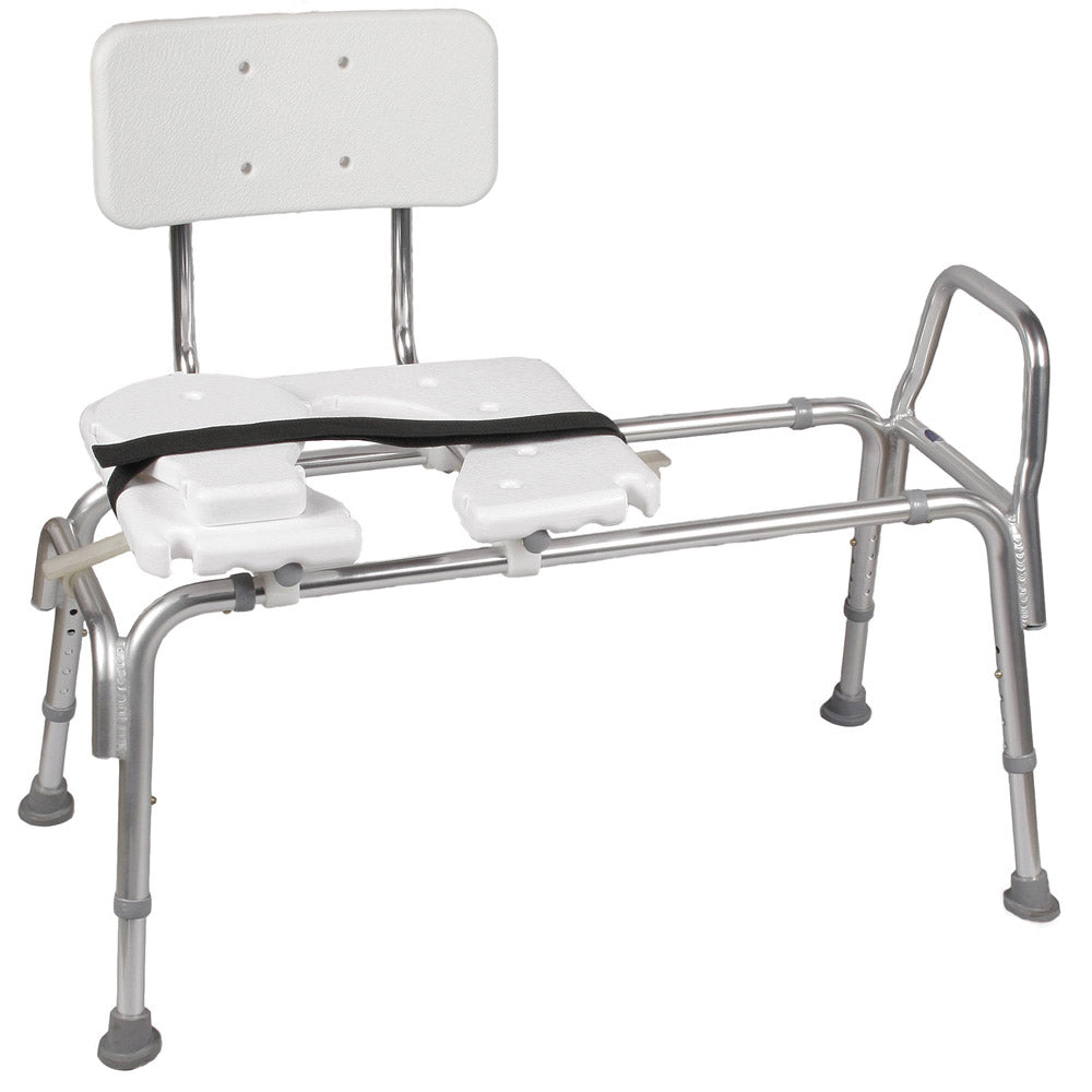 Mabis Heavy-Duty Sliding Transfer Bench w/ Cut-Out Seat