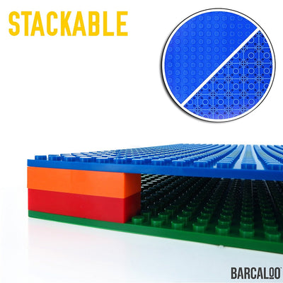 "Building Toy Bricks - 10"" x 10"" Base Plate Baseplate 6 Pack Green,Grey,Blue"