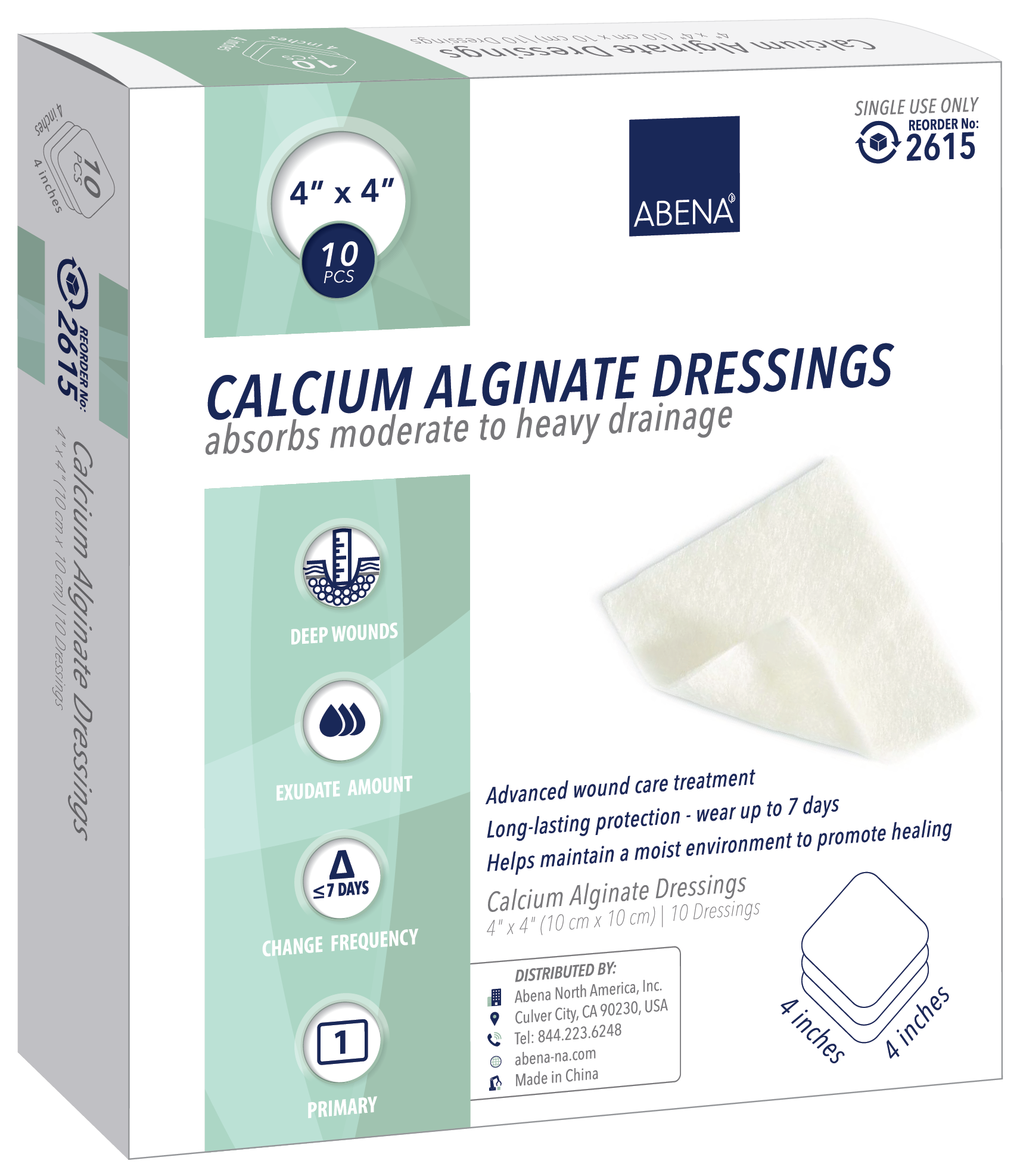 "Abena Calcium Alginate Dressing, Sterile 4"" x 4"""